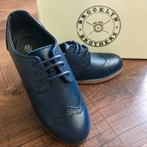 NEW Boy's Navy Leather Lace Up Oxford Shoe Size 13